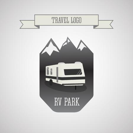 rv: RV and caravan park logo, badges. Outdoor theme. Grayscale design. Vector illustration