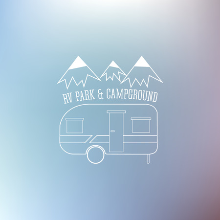 campground: RV and caravan park template. Can be used as logo, badges banner, poster, flyer etc. Outdoor theme. Grayscale design. Vector illustration.