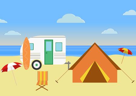 Retro carovana sulla spiaggia, le vacanze estive, illustrazione vettoriale, sfondo retrò. Design piatto Archivio Fotografico - 35890628