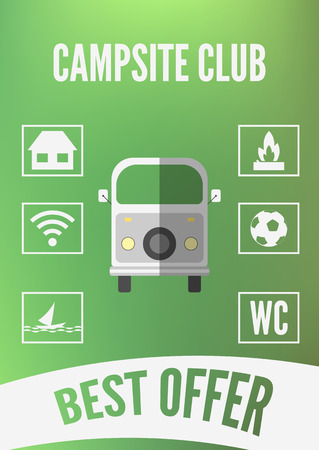 campsite: Campsite club promotion infographic with retro car and white icons. Flat design. Vector illustration