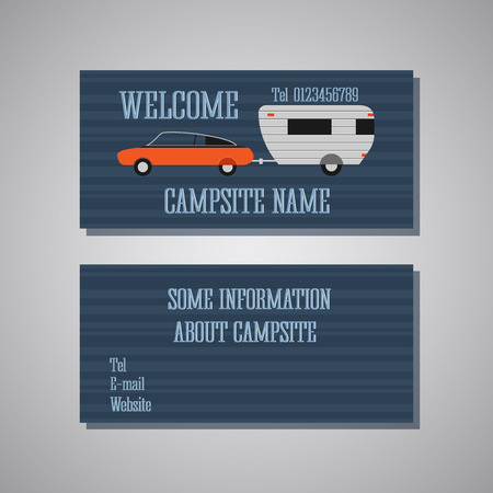 campsite: Professional and designer campsite card template or visiting card set. Front and back view. Car and caravan. Vector illustration
