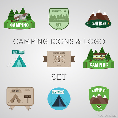 campsite: Set of outdoor adventure badges and campsite emblems. Summer 2015 stickers. Vector Illustration