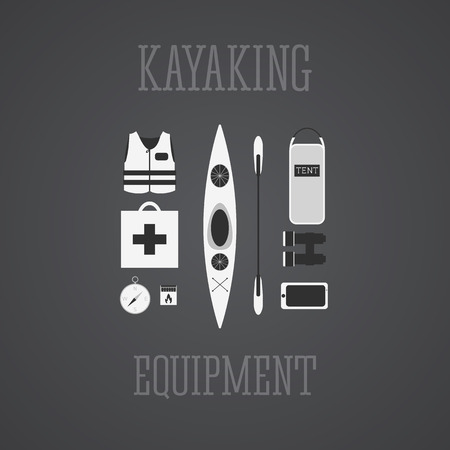Kayaking equipment icons set. Kayak illustration on a grayscale design. With tent, compass, mobile device, binoculars, life jacket, matches and medicine chest. Vector illustration. Vector