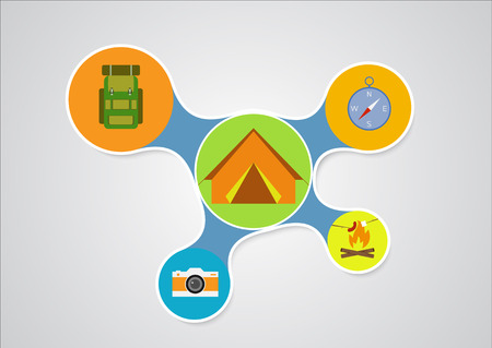 Camping graphic in round style, outdoor elements on multicolor elements background,hiking info graphic. Vector illustration Vector