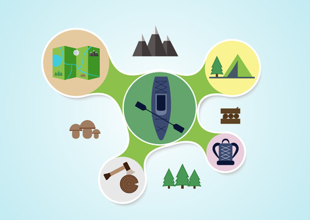 Camping and kayak graphic in round style, outdoor elements on multicolor rounds background, travel info graphic. Vector illustration Vector