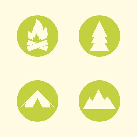 Tourist sign icon set. Camping symbols. Travel design. Circle flat buttons. Modern UI website navigation. Vector illustration Vector