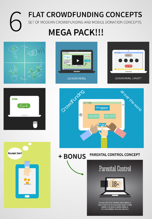 Vector crowdfunding concept set in flat design - new business model, start up, donation, fund the project through the Internet. Vector illustration. Vector