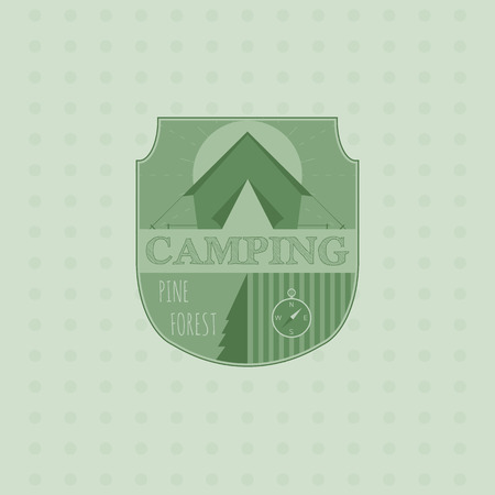 Outdoor adventure badge and forest logo emblem. Camping icon. Vector illustration. Vector