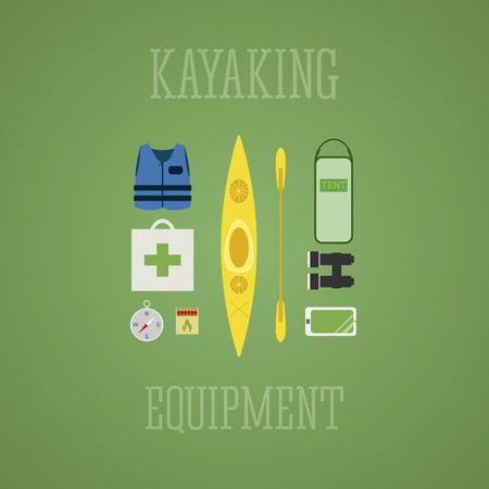 kayaking: Kayaking equipment icons set. Kayak illustration on a multicolor design. With tent, compass, mobile device, binoculars, life jacket, matches and medicine chest. Vector illustration