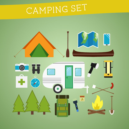 camping equipment: Bright cartoon camping equipment icon set in vector. Recreation, vacation and sport symbols. Flat design. Vector illustration