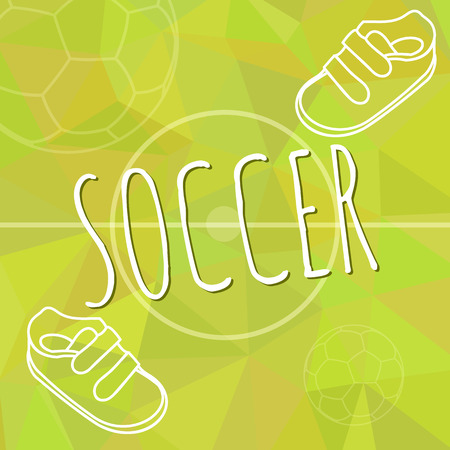 Template for advertising brochure with a sneakers and soccer ball on a green spring trendy polygonal background. Outline design. Vector illustration. Stock Illustratie