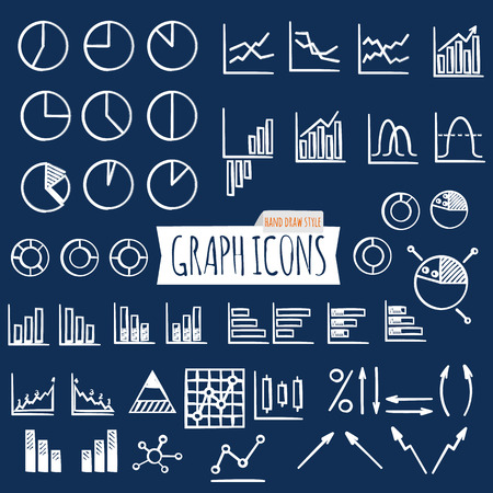 Business charts. Hand Draw style. Set of thin line graph icons. Outline. Vector illustration Illustration