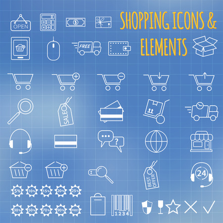 Shopping icon set. On bllue background. Outline. Can be use as elements in infographics, as web and mobile icons etc. Easy to recolor and resize. VEctor illustration illustration