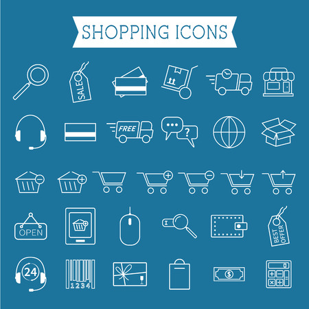 Set of On-Line Shopping icons. Outline. Can be use as elements in infographics, as web and mobile icons etc. Easy to recolor and resize. Vector illustration Vector