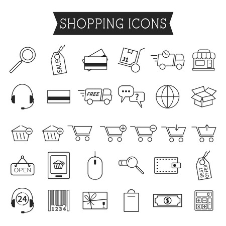 Set of On-Line Shopping icons isolated on white background. Outline. Can be use as elements in infographics, as web and mobile icons etc. Easy to recolor and resize. Vector illustration Vector