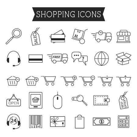 Satz von Online-Shopping-Symbole isoliert auf weißem Hintergrund. Gliederung. Kann Verwendung als Elemente Infografiken, wie Web-und Mobile Icons etc. Einfach zu Farbveränderung und ihre Größe ändern können. Vektor-Illustration
