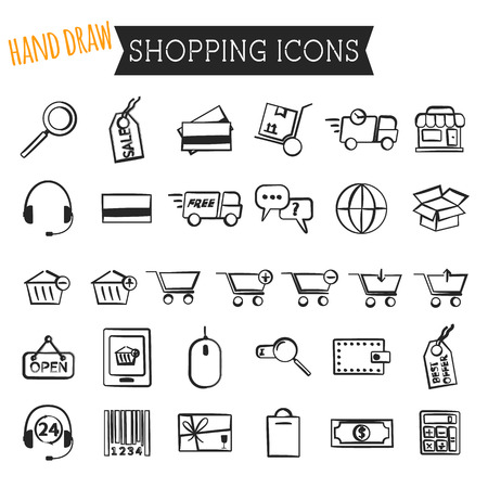 Set of On-Line Shopping icons isolated on white background. Hand draw style. Outline. Can be use as elements in infographics, as web and mobile icons etc. Easy to recolor and resize. Vector illustration Vector