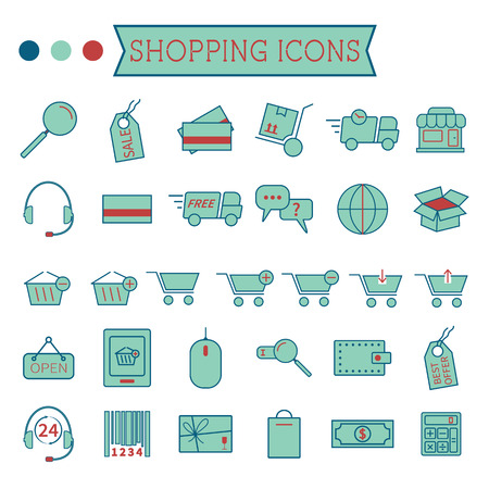 Set of On-Line Shopping icons isolated on white background. Stylized 3 colors. Minimalistic design. Can be use as elements in infographics, as web and mobile icons etc. Easy to recolor and resize. Vector illustration Vector