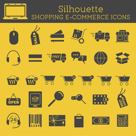 Set of  Silhouette On-Line Shopping icons isolated on yellow background. Can be used as elements in infographics, web and mobile app icons etc. Easy to recolor and resize. Vector illustration. Vector