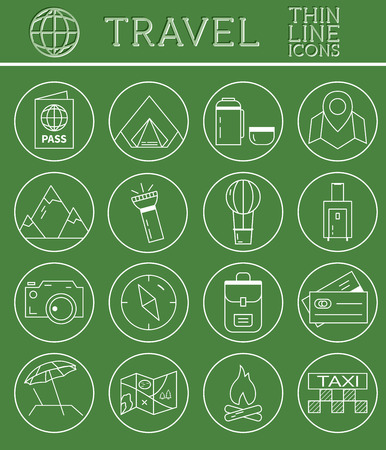 Outlined Holidays and Travels Icon Set Collection. Thin Line design. Camping and travel symbols and elements. Vector illustration Vector