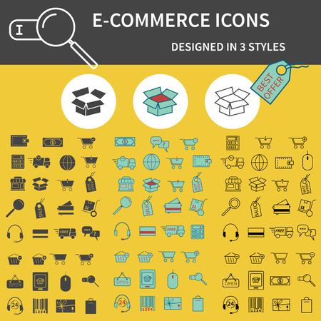 Set of Outline,  Silhouette and 3 colors On-Line Shopping icons isolated on yellow background. Cute design. Can be used as elements in infographics, logo, web and mobile app icons etc. Easy to recolor and resize. Vector illustration Vector