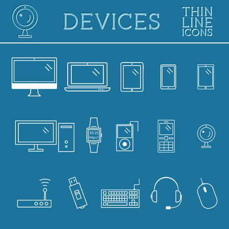 Trendy PC, computer, mobile gadgets and device line icons, mono vector symbols and elements of technologies. Can be used as buttons, elements in infographics, icons, logo. Easy to recolor and resize. Vector illustration Vector