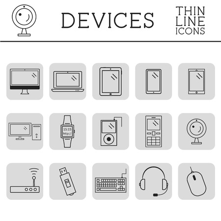 Trendy PC, computer, mobile gadgets and device line icons and buttons . Graphic vector symbols and elements of technologies. Can be used as buttons, elements in infographics, icons, logo. Easy to recolor and resize. Vector illustration Vector