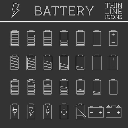 Set of battery charge level indicators. Trendy thin line, outline design. Can be used as buttons, elements in infographics, icons, logo. Vector illustration. Vector