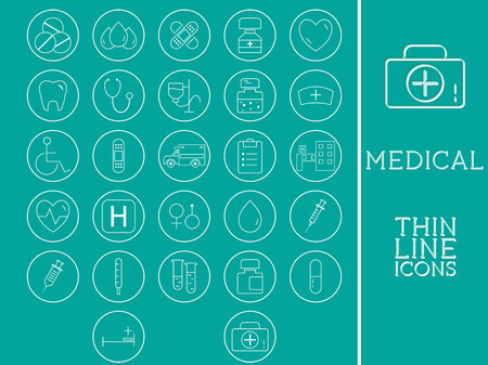 healtcare: Outlined Medical and Healtcare Icons Set Collection. Trendy thin line design. On blue background. Vector illustration