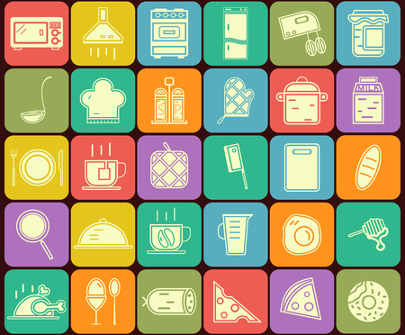 Set of kitchen and cooking  icons in flat design. On multicolor buttons backgrounds. Vector illustration Vector