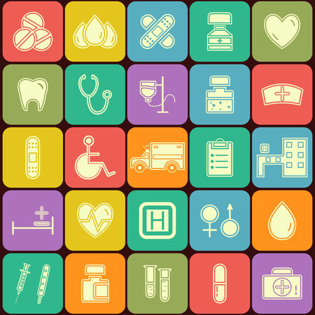 Set of flat Medical icons isolated on multicolor buttons. Unusual silhouette design. Vector illustration Vector