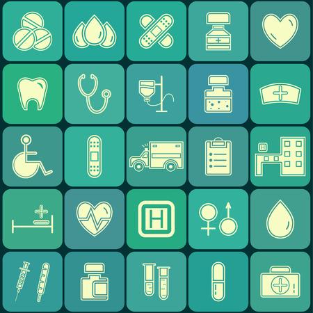enfermera caricatura: Conjunto de planos Iconos m�dicos y de la salud aislados en azul botones de la paleta. Dise�o de la silueta inusual. Ilustraci�n del vector.