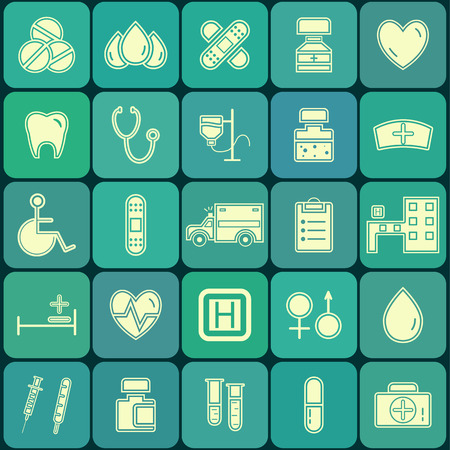 Set of flat Medical and Healthcare icons isolated on blue palette buttons. Unusual silhouette design. Vector illustration.