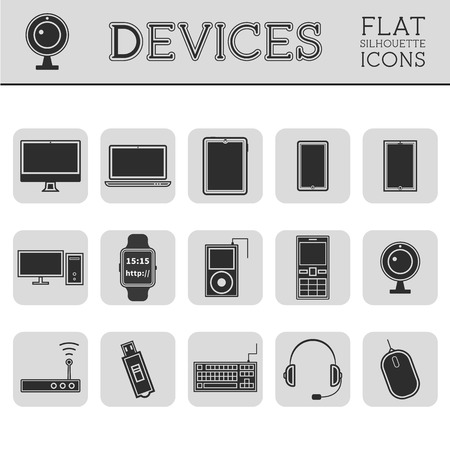 Trendy Silhouette PC, computer, mobile gadgets and device line icons and buttons . Graphic vector symbols and elements of technologies. Can be used as buttons, elements in infographics, icons, logo. Easy to recolor and resize Vector
