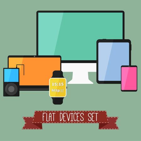 digitized: Conjunto de modernos dispositivos de interfaz de usuario de negocios - tableta digital, dispositivos m�viles, reloj inteligente, reproductor de m�sica, port�tiles. Dise�o de color con estilo. Aislado en el fondo verde. Ilustraci�n vectorial