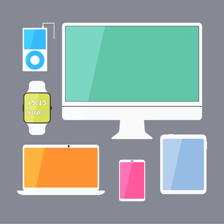 digitized: Modern business ui devices set - display, digital tablet, mobile devices, smart watch, music player, laptop. Stylish color design. Isolated on blue background. Vector illustration Illustration