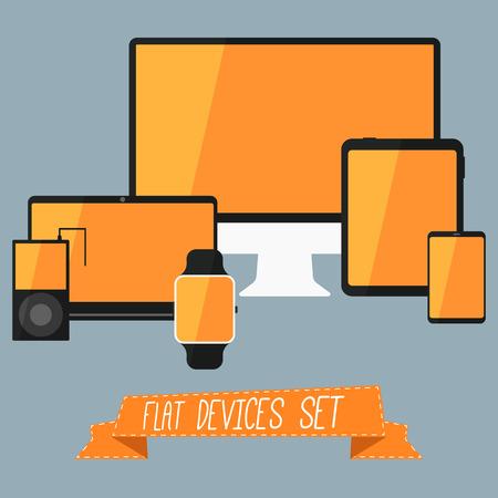 digitized: Conjunto de interfaz de usuario moderna - tableta digital, dispositivos m�viles, reloj inteligente, reproductor de m�sica, ordenador port�til. Dise�o anaranjado elegante. Aislado en el fondo azul. Ilustraci�n vectorial