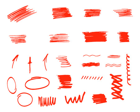 customize: Different design elements, brush strokes isolated on white background. Set of unusual symbols and elements to customize your project. Vector illustration.