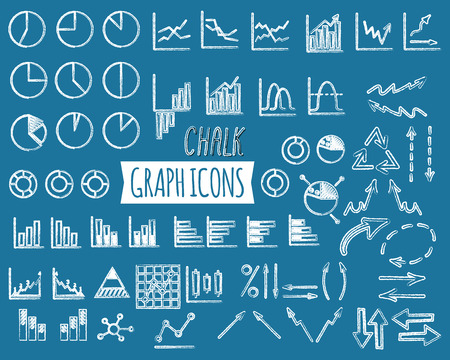 Business and office charts. Chal edition. Set of thin line graph icons. Outline. Can be used as elements in infographics, icon, in projects. Unusual design. Vector illustration. Ilustração