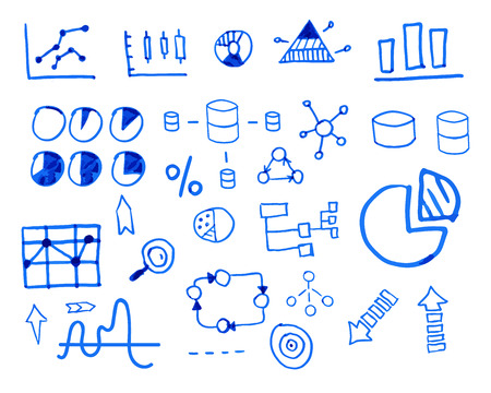 sketched arrows: Business finance doodle hand drawn. sketched elements. Concept - graph, chart, pie, arrows signs. Unusual design. Isolated on white background. Vector illustration.