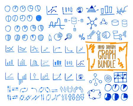 sketched icons: Conjunto de esbozo garabato, dibujado, dibujado a mano la gesti�n empresarial infograf�as elementos, iconos, flechas, gr�ficos, empanadas, anal�tica y s�mbolos estad�sticos. Mega paquete. Aislado en el fondo blanco. Ilustraci�n vectorial Vectores