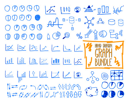 sketched arrows: Set of outline doodle, sketched, hand drawn business management infographics elements, icons, arrows, charts, pies, analytic and statistic symbols. Mega bundle. Isolated on white background. Vector illustration Illustration
