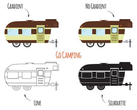 RV, 모터 홈, 트레일러 및 캐러밴 공원 로고, 아이콘, 배지. 여름 야외 활동과 캠핑 여행 테마. 플랫, 라인과 실루엣 디자인 흰색 배경에 고립입니다. 벡