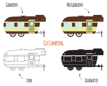 rv: RV, motorhome, trailer and caravan park logo, icon, badges. Summer Outdoor activity and camping travel theme. Flat, line and silhouette design isolated on white background. Vector illustration