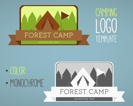 national parks: Vintage camping and outdoor activity logos. Designed in color and monochrome. Vector logo templates and badges with forest, trees, flag, ribbon, tent. National parks and nature exploration symbols.