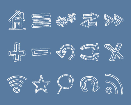 conception: Set of hand drawn web icons and icon, internet browser elements. Sketch, doodle stylish and unusual design conception. Vector illustration. Illustration