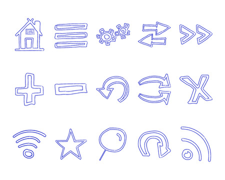 conception: Set of hand drawn web icons and icon, internet browser elements. Pen Sketch, doodle stylish and unusual design conception for your projects.Vector illustration. Illustration