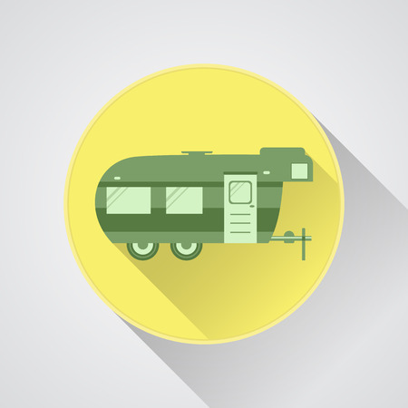 rv: RV camping icon and badge. Caravan button in flat design with long shadow. Motorhome. Isolated on light background. Vector illustration