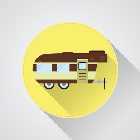 rv: RV camping icon and badge. Caravan button in flat design with long shadow. Motorhome lifestyle. Isolated on light background. Vector illustration Illustration