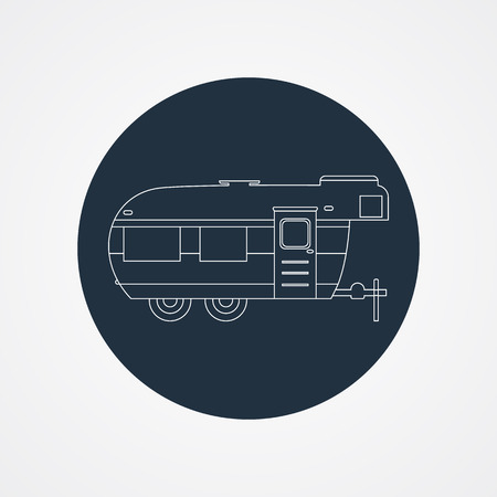 RV camping icon and badge. Caravan on dark button in flat line design. Motorhome lifestyle. Isolated on light background. Vector illustration Vector